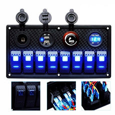 DCFlat 4/6/8/10 Gang Circuit LED Car Marine Waterproof 5 Pin Boat Rocker Switch Panel with Fuse Dual USB Slot LED Light + Power Socket Breaker Voltmeter for RV Car Boat