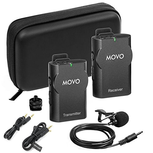 Movo WMIC10 2.4GHz Wireless Lavalier Microphone System for DSLR Cameras, iPhone/iPad/Android Smartphones, & Camcorders (50-foot Transmission Range)
