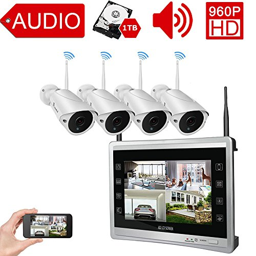 "Luowice Audio Wireless Security Camera System with 11"" Monitor 960p 4CH Home Video Surveillance System Built in 1TB Hard Drive Indoor and Outdoor Waterproof HD CCTV Wifi Cameras with IR Night Vision"