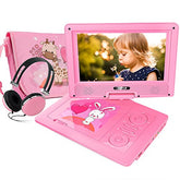 "FUNAVO 9.5"" Portable DVD Player with Headphone, Carring Case, Swivel Screen, 5 Hours Rechargeable Battery, SD Card Slot and USB Port (Pink)"