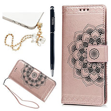 Galaxy S9 Plus Case, 3D Relief Embossed Mandala Pattern PU Leather Soft TPU Inner Card ID Holder Wrist Strap Stand Magnetic Folio Flip Wallet Cover with Dust Plus Stylus Pen by YOKIRIN, Gold