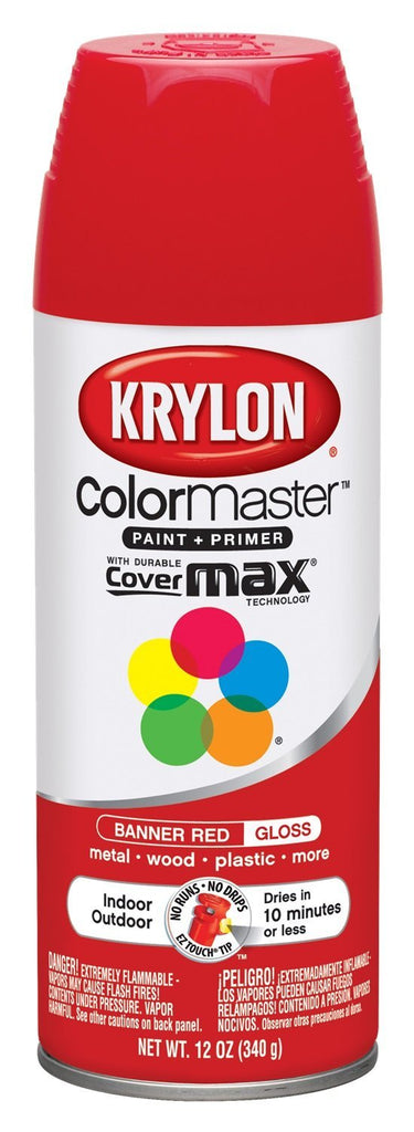 Krylon 52108 Paint Enamel, 12 oz, Banner Red, NEW, OPEN BOX, box cold be damage