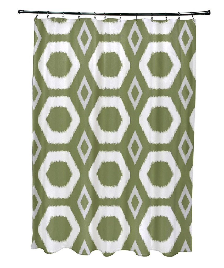 E by Design More Hugs and Kisses Geometric Print Shower Curtain, Olive, NEW, OPEN BOX, box cold be damage
