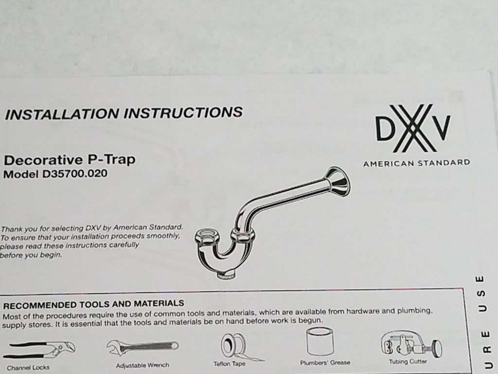 DXV - D35700020.150 - Decorative P-Trap - Pn, NEW, OPEN BOX, box cold be damage