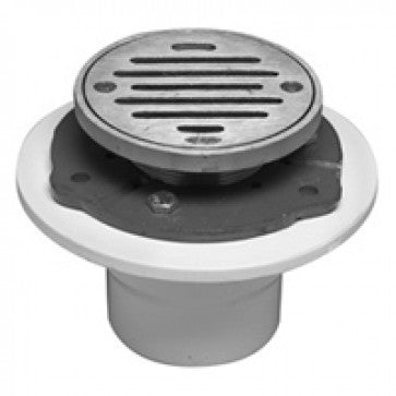 "MOUNTAIN PLUMBING 4"" ROUND COMPLETE SHOWER DRAIN MT507A/CPB, NEW, OPEN BOX, box cold be damage"