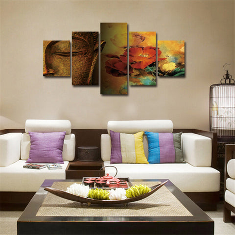 living room posters.  Buddha Canvas Meditation painting flower 5Pcs Wall Art poster Mordern wall pictures for living room posters