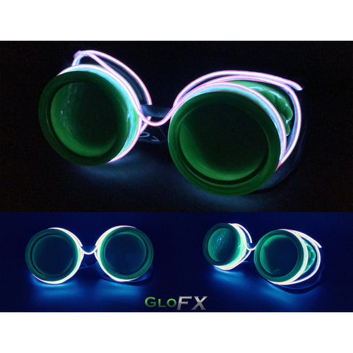 GloFX Purple Luminescence Spiral + Diffraction Goggles - ElectroLivin, luminescent - Rave Accessories, ElectroLivin  - ElectroLivin