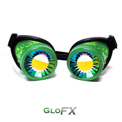 GloFX Glow Green Wormhole Kaleidoscope Diffraction Goggles - ElectroLivin, goggles - Rave Accessories, ElectroLivin  - ElectroLivin