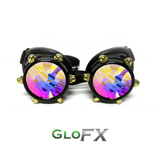 Black Bolt Kaleidoscope Goggles with Red Luminescence - ElectroLivin, Goggles - Rave Accessories, ElectroLivin  - ElectroLivin