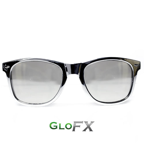 Chrome Silver Mirror Diffraction Glasses - ElectroLivin, Glasses - Rave Accessories, ElectroLivin  - ElectroLivin