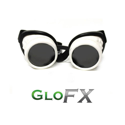 GloFX White Diffraction Goggles - ElectroLivin, Goggles - Rave Accessories, ElectroLivin  - ElectroLivin