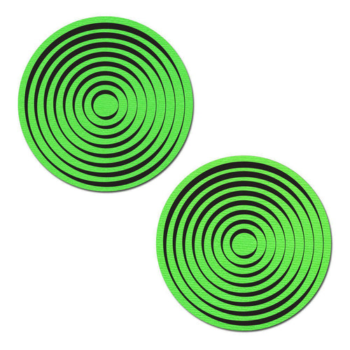 Spiral: Trippy UV Reactive Neon Green Circle with Black Spiral Nipple Pasties by Pastease - ElectroLivin, Pasties - Rave Accessories, ElectroLivin  - ElectroLivin