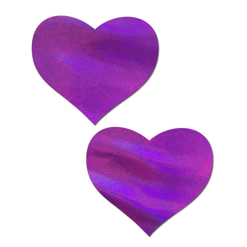 Love: Purple Holographic Heart Nipple Pasties by Pastease - ElectroLivin, Pasties - Rave Accessories, ElectroLivin  - ElectroLivin