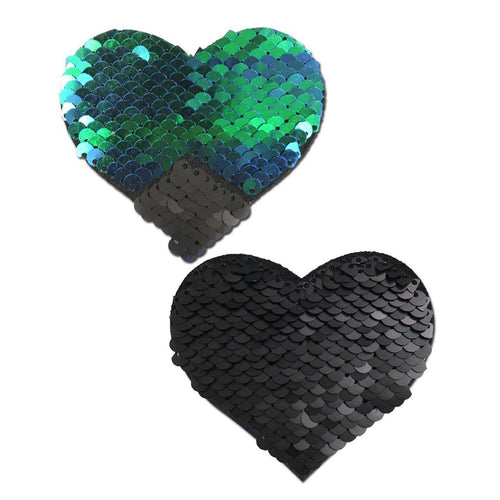 Love: Opal & Black Color Changing Sequin Heart Nipple Pasties by Pastease - ElectroLivin, Pasties - Rave Accessories, ElectroLivin  - ElectroLivin
