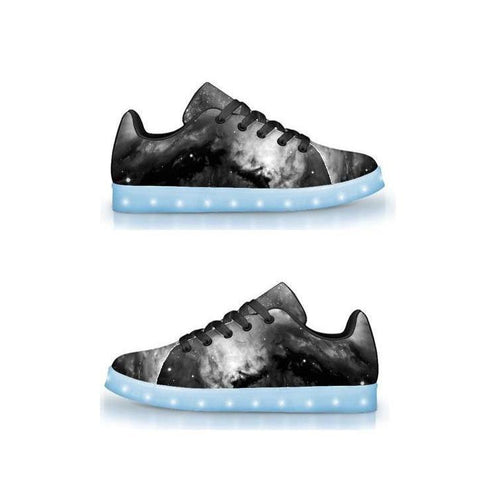 Black & White Cosmos - APP Controlled Low Top LED Shoes - ElectroLivin, Shoes - Rave Accessories, ElectroLivin  - ElectroLivin