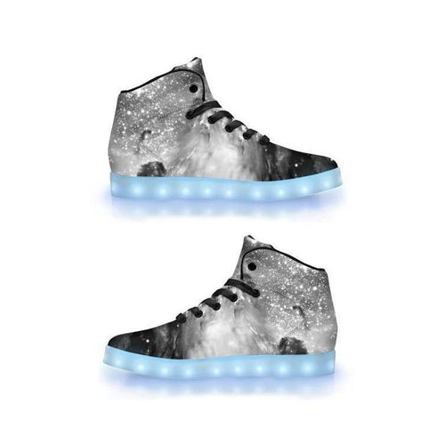Black & White Cosmos - APP Controlled High Top LED Shoes - ElectroLivin, Shoes - Rave Accessories, ElectroLivin  - ElectroLivin