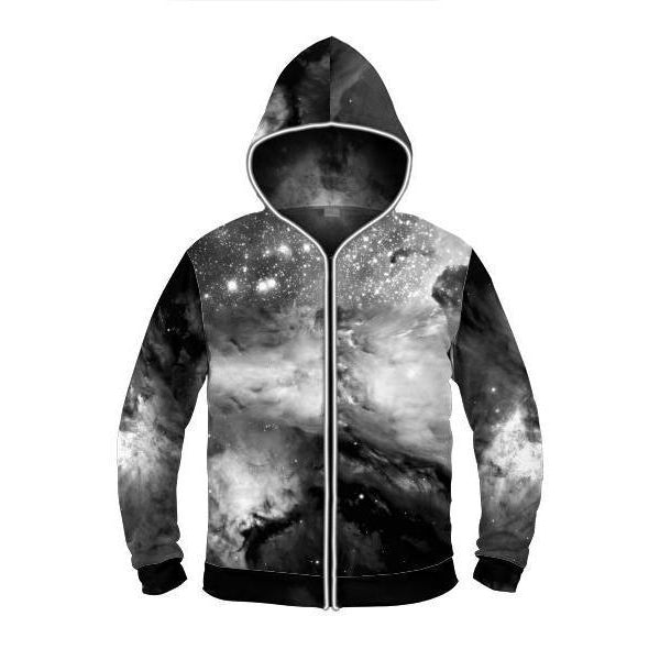 Black & White Cosmos - Light Up Hoodie - ElectroLivin, Hoodie - Rave Accessories, ElectroLivin  - ElectroLivin