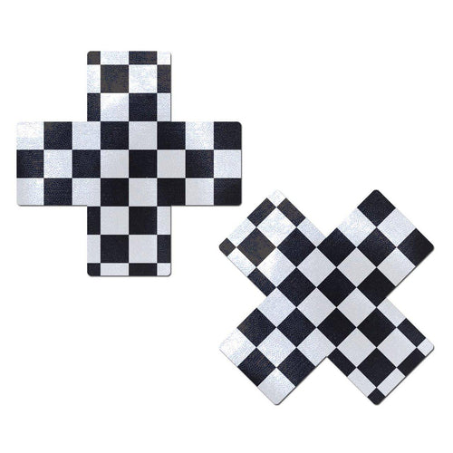 Plus X: Black White Checker Cross Nipple Pasties by Pastease - ElectroLivin, Pasties - Rave Accessories, ElectroLivin  - ElectroLivin