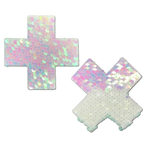Plus X: Pearl & White Flip Sequin Cross Nipple Pasties by Pastease - ElectroLivin, Pasties - Rave Accessories, ElectroLivin  - ElectroLivin