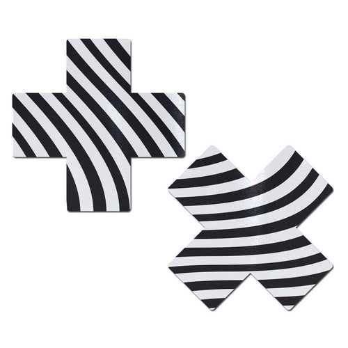 Plus X: Black & White Silly Stripes Cross Nipple Pasties by Pastease - ElectroLivin, Pasties - Rave Accessories, ElectroLivin  - ElectroLivin