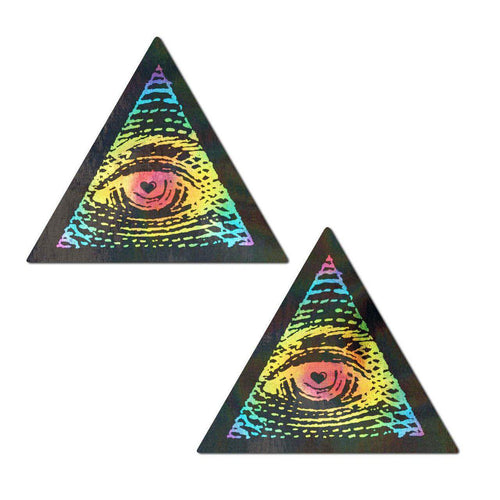 Trippy Triangle: Rainbow All Seeing Eye Nipple Pasties by Pastease - ElectroLivin, Pasties - Rave Accessories, ElectroLivin  - ElectroLivin