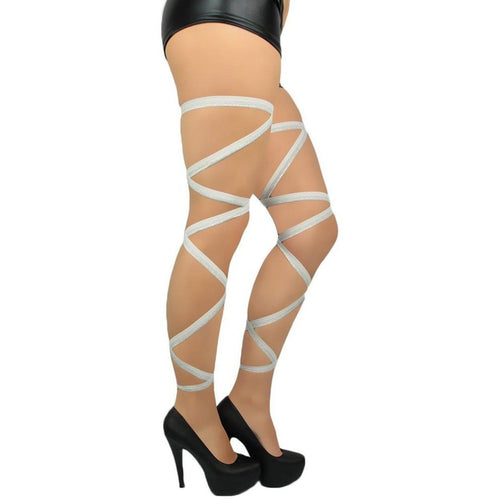 Pair of White w/ Silver Glitter Leg Wraps - ElectroLivin, Accessories - Leg Wraps - Rave Accessories, ElectroLivin  - ElectroLivin