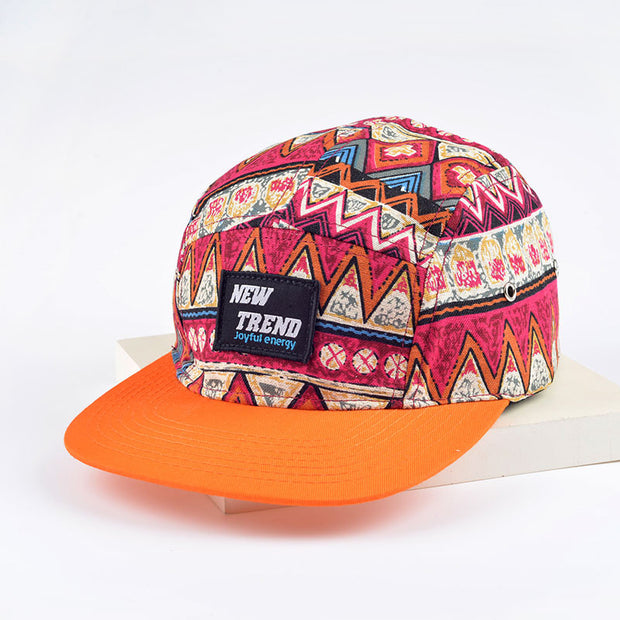Orange Geometric Print Five Panel Hat
