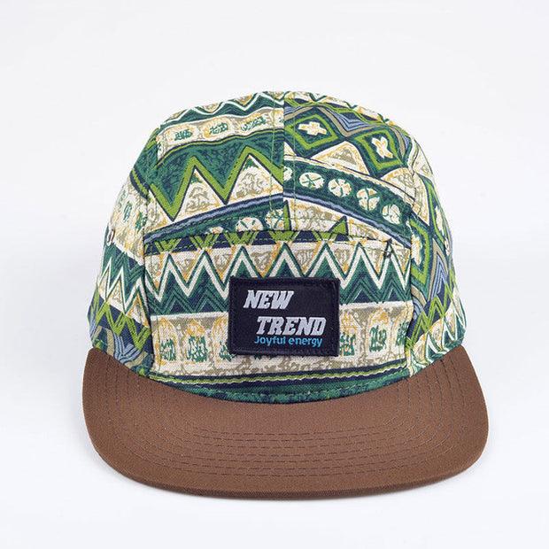 Green Geometric Print Five Panel Hat