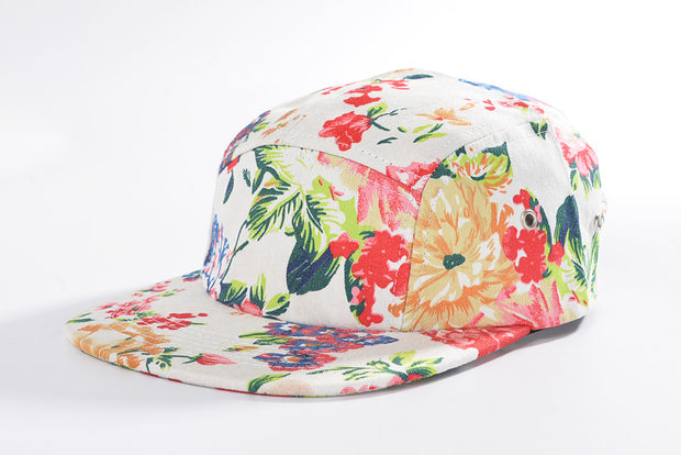 White Floral Pattern Five Panel Hat