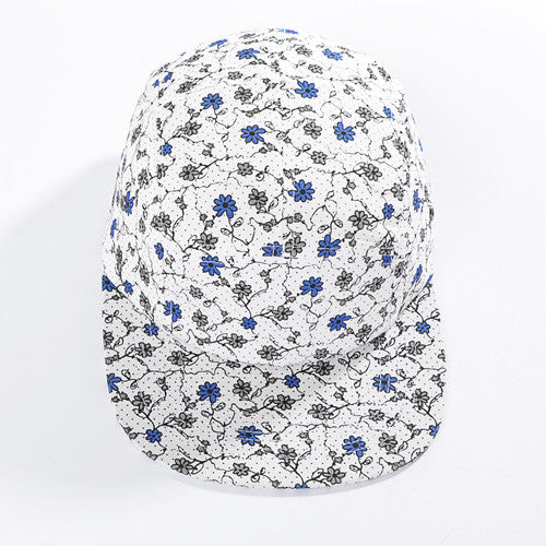 White Floral Five Panel Hat