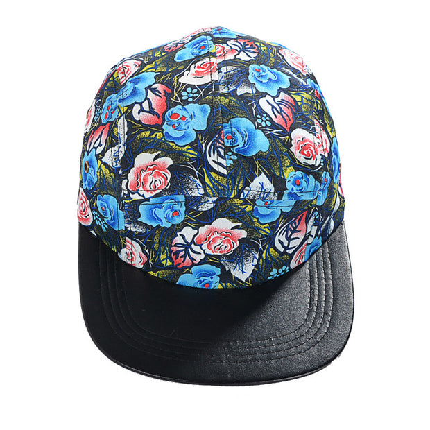 Black Cartoon Floral Pattern Five Panel Hat
