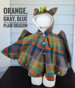 Size 2: Dragon Poncho ( orange blue plaid)