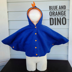 Size 1: Dino Poncho ( blue and orange)