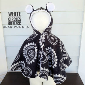 Size 1: Bear Poncho (white circles on black)