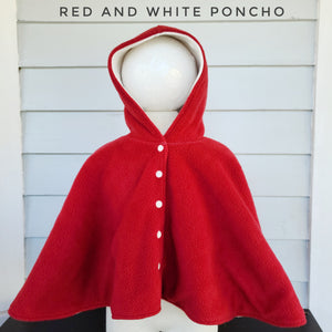 Size 2: Plain Poncho ( red and white)