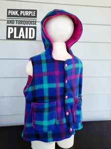 Size 2: Vest ( pink, purple and turquoise plaid)
