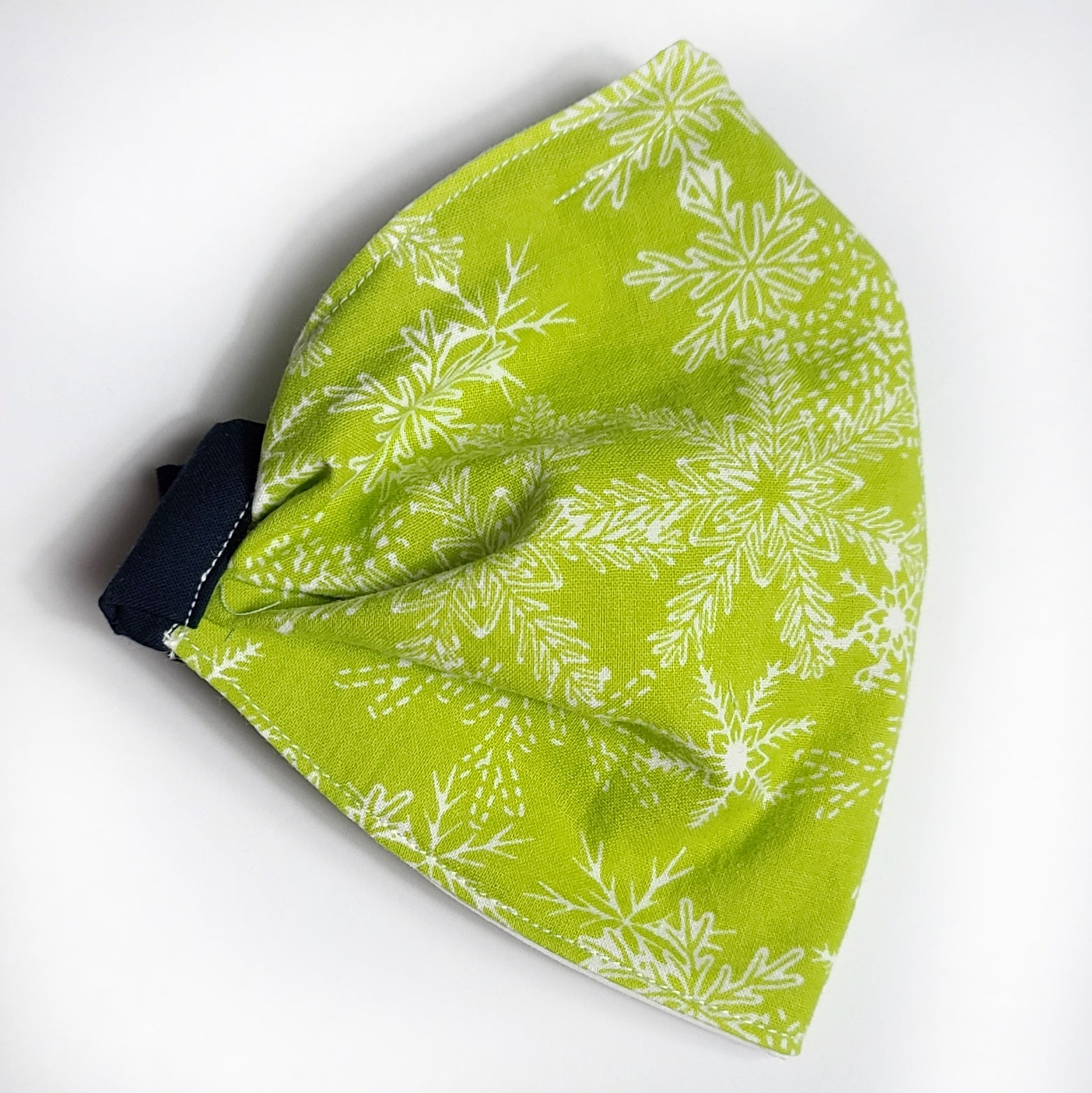 Adult Pleated: White Snow flakes on Lime Green