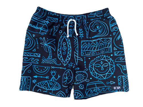 SURFS UP (Black & Blue) SURF SHORTS (Kids, Youth Sizes)