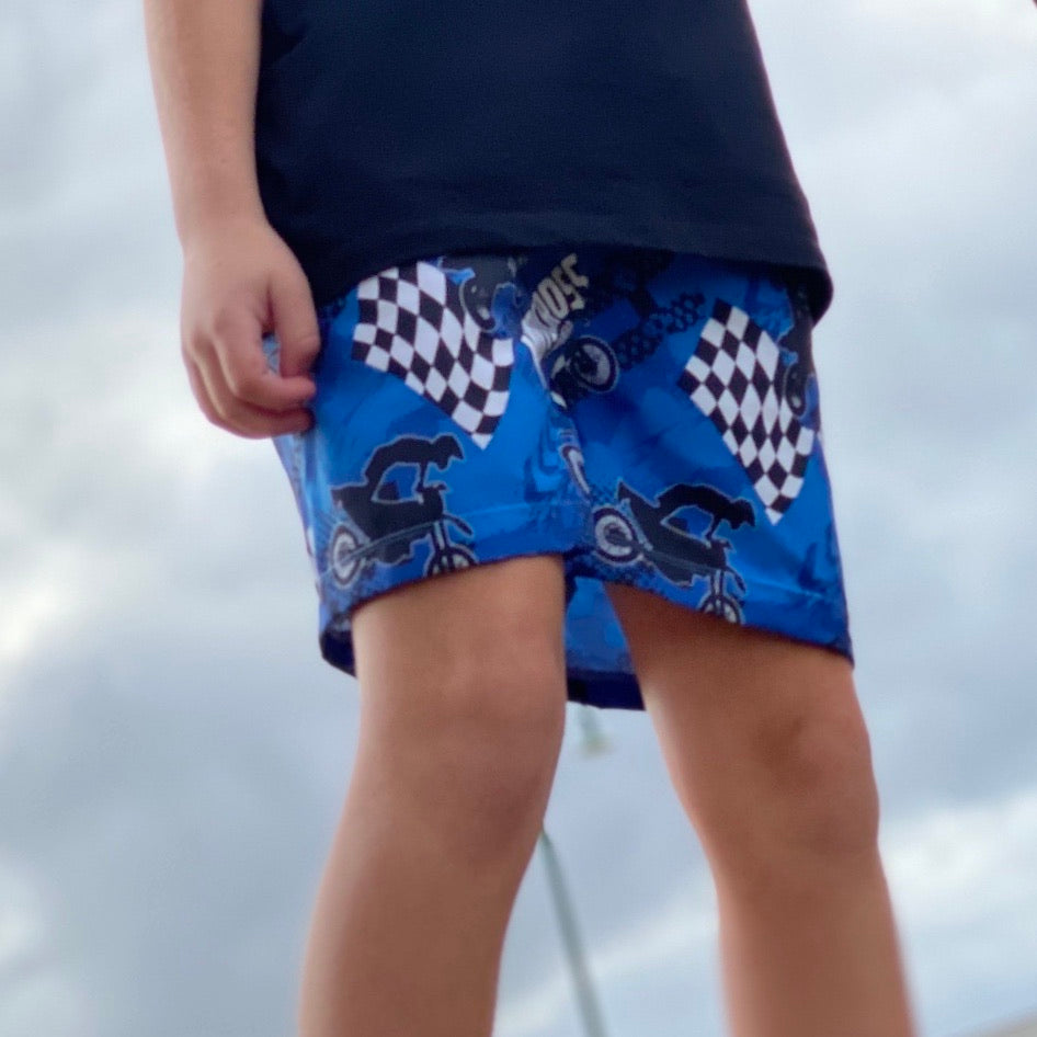 YAMAHA BLUE INSPIRED SURF SHORTS (Kids & Youth Sizes ONLY)