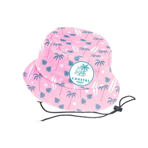 Pink Coastal Palm Bucket Hat (Kids)