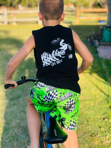 KAWASAKI GREEN INSPIRED SURF SHORTS (Kids & Youth Sizes ONLY)