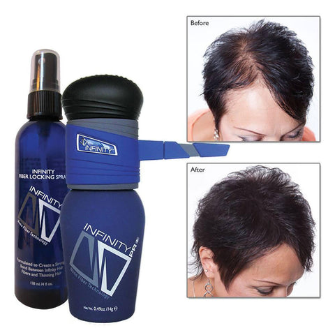 Infinity Hair Fibers Hair Loss Concealer + FREE Pump &  Spray - OneSourceBeauty