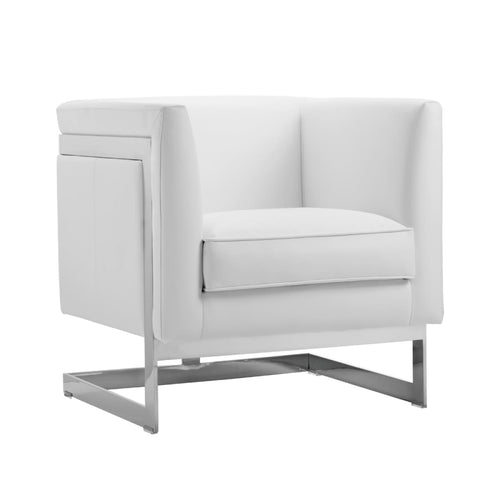AIKEN ARMCHAIR WHITE LEATHER