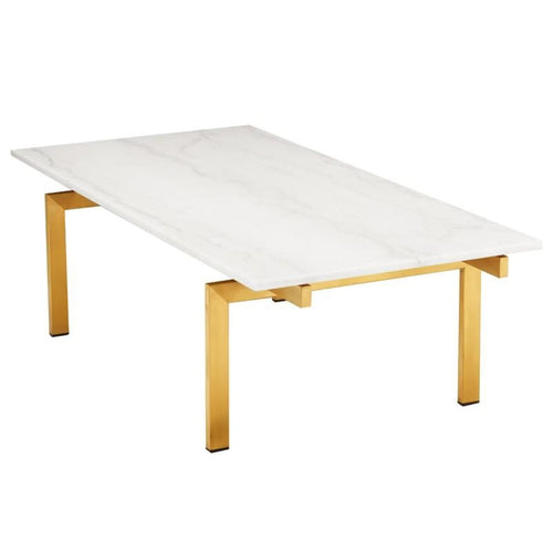 BALMORAL COFFEE TABLE WHITE BRUSH GOLD - COFFEE TABLE