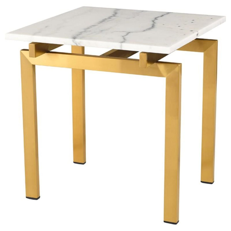 BALMORAL SIDE TABLE WHITE & BRUSHED GOLD - END TABLE