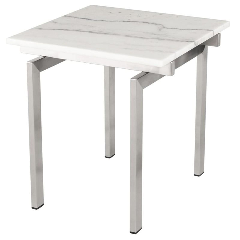 BALMORAL SIDE TABLE WHITE STAINLESS - end table