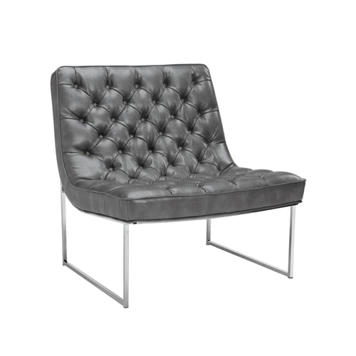 BARNARD CHAIR GREY LEATHER