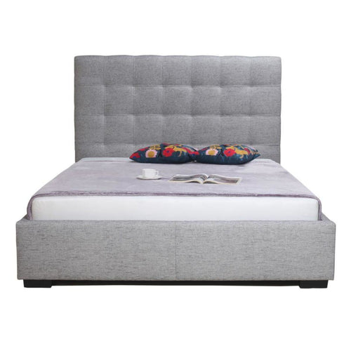 Bell storage bed queen light grey fabric