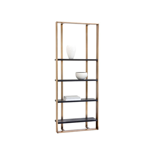 "BENCI BOOKCASE - SMALL (35.5"" W) - ANTIQUE BRASS - BLACK"
