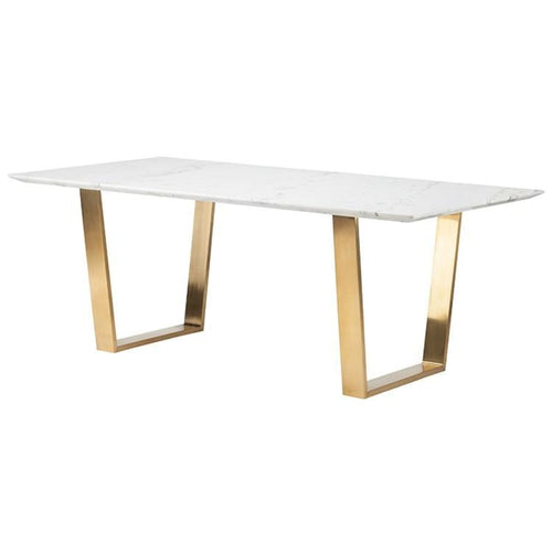 BERTRAND DINING TABLE WHITE BRUSHED GOLD